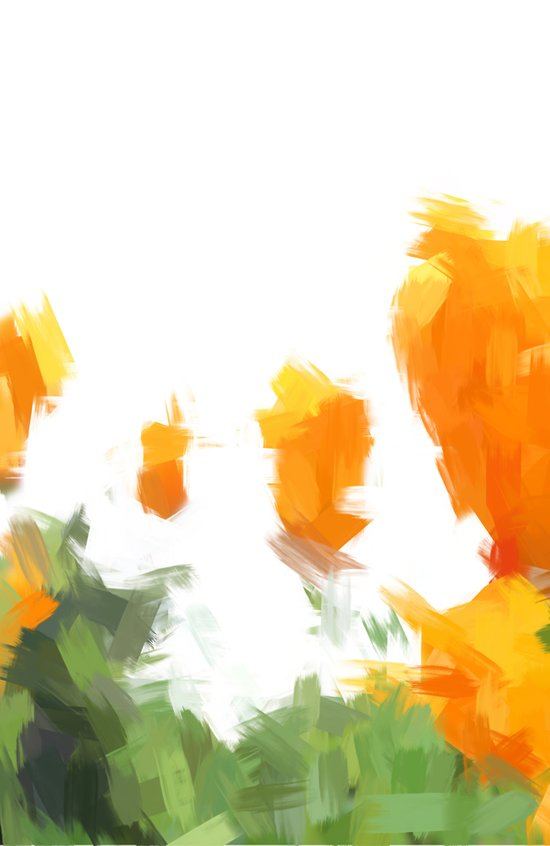 BLOSSOMS - ORANGE GREEN Art Print