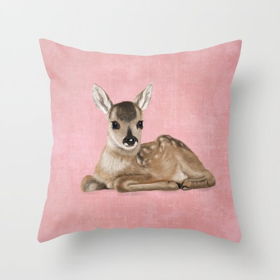 Portrait of a small fawn on a rustic pink background Throw Pillow