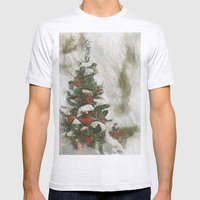 Xmas Tree Mens Fitted Tee Ash Grey SMALL