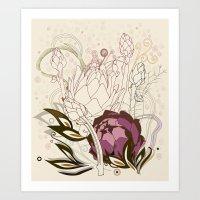 Peach And Purple  Artich… Art Print