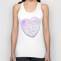 Candy coated Black heart Unisex Tank Top