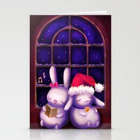 Chubby bunnies at christmas night Stationery Cards