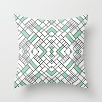 PS Grid 45 Mint Throw Pillow