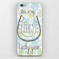 2013 - My Lucky Year Print, hand lettered horse-shoe iPhone & iPod Skin