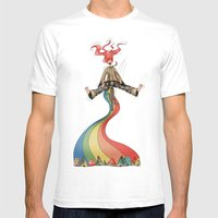 Rainbow {Weeeee} Mens Fitted Tee White SMALL