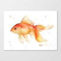 Goldfish Painting Watercolor Fish Canvas Print