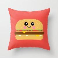 Happy Pixel Hamburger Throw Pillow