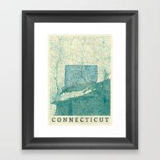Connecticut State Map Blue Vintage Framed Art Print