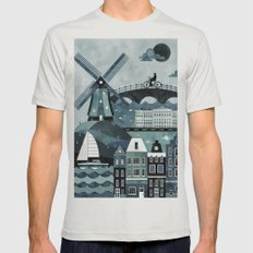 Amsterdam Travel Poster Mens Fitted Tee Silver SMALL