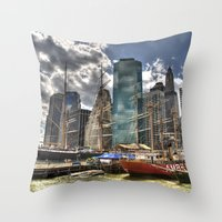 NYC Harbor, south seaport Throw Pillow