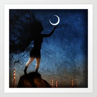 Give The Moon A Little K… Art Print