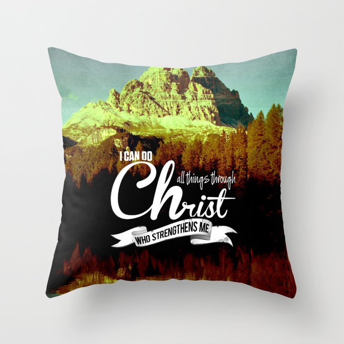 Throw Pillows With Scripture : Typographic Motivational Bible Verses - Philippians 4:13 Throw Pillow by The Wooden Tree Society6