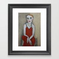 Actress In Red Dress Framed Art Print