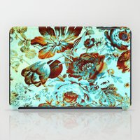 floral on turquoise with golden hint iPad Case