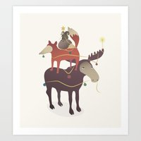 X-Moose Tree Art Print