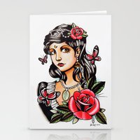 Girl With Butterflies - … Stationery Cards