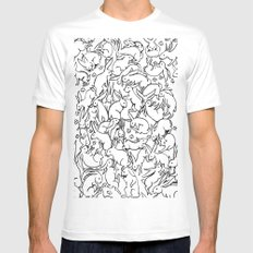 Bunny Pattern Mens Fitted Tee White SMALL