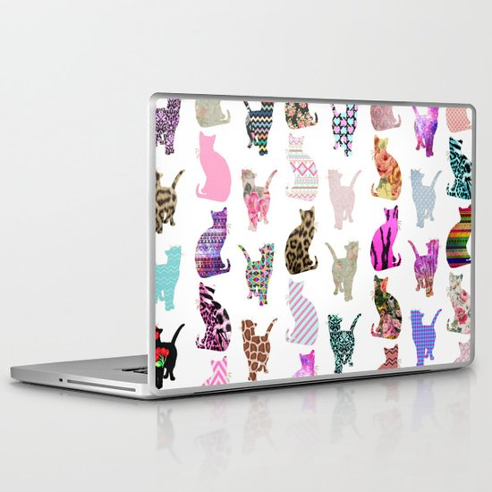 Girly Whimsical Cats aztec floral stripes pattern Laptop & iPad Skin