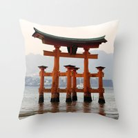 Itsukushime Shrine Torii… Throw Pillow