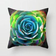 Close Up Succulent Throw Pillow