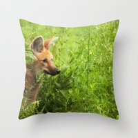 Throw Pillow featuring Peeking Out by Karol Livote