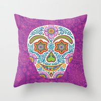 Flower Power Skully Throw Pillow