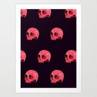 Pink Skull Pattern Art Print