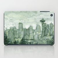 Seattle Skyline Watercolor Space Needle Green Painting  iPad Case