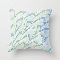 Blue Grey Fanning Throw Pillow