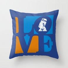 Robot LOVE - Blue Throw Pillow