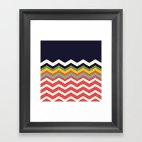 Retro Chevrons (salmon and navy) Framed Art Print