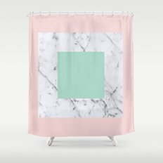 Marble with Pastels /// www.pencilmeinstationery.com Shower Curtain