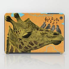 Giraffe & Singing Birds Print iPad Case