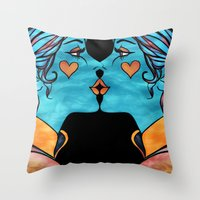 Looking Glass Kisses Throw Pillow