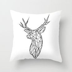 Black Line Faceted Stag Trophy Head Throw Pillow