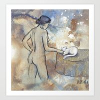 Woman And Cat Art Print