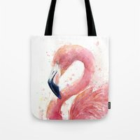 Pink Flamingo Watercolor Tote Bag
