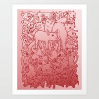 Pig Pile-Up! (splash-0-color edition) Art Print