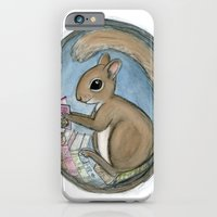 iPhone & iPod Case featuring Sherman Squirrel Reads a Tale by Debra Styer