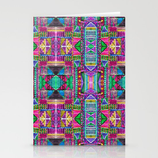 Tribal Patchwork Pink Stationery Card