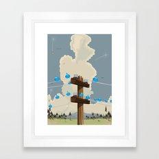 Birds on a wire Framed Art Print