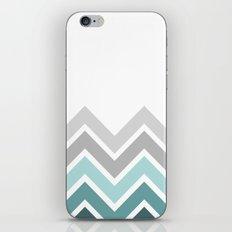WHITE/ TEAL CHEVRON FADE iPhone & iPod Skin
