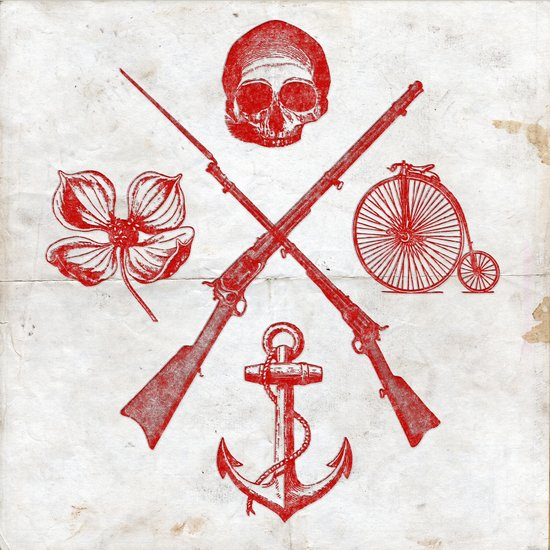 Skull Flower Rifle Bicycle Anchor – Badge Canvas Print