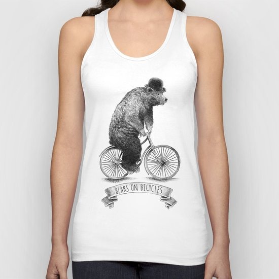 Bears on Bicycles (Lime) Unisex Tank Top