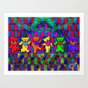 Grateful Dead Dancing Bears Colorful Psychedelic Characters #1 Art Print