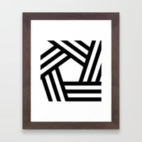 B/W stripy pentagon Framed Art Print