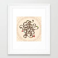 Framed Art Print featuring Coffee. The Flow of Life. - Lettering by Ivana Catovic