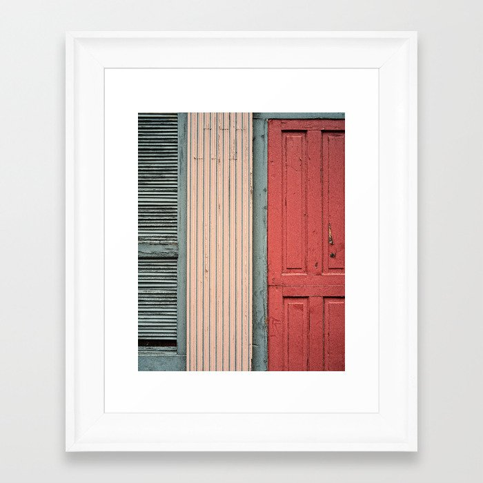 Teal Shutters: Teal Shutter, Coral Door Framed Art Print By Wood-n-Images