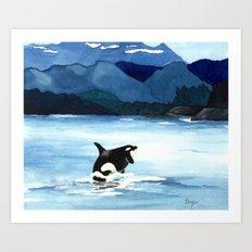Orca Breach Art Print