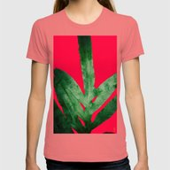 Green Fern On Bright Red Womens Fitted Tee Pomegranate LARGE